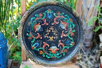 Vintage Toleware Hand Painted Black Metal Floral Tray with Filagree Border