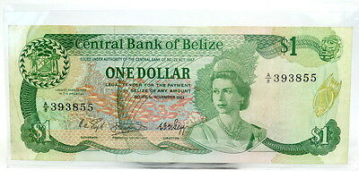 1982-1983 Central Bank of BELIZE $1 DOLLAR P43 Bill Young Elizabeth II Note