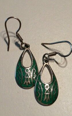 Taxco Silver Turquoise Chip Dangle earrings