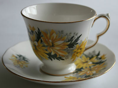 Royal Vale Tea Cup and Saucer Duo Chrysanthemums Yellow Flower Patt No. 8327