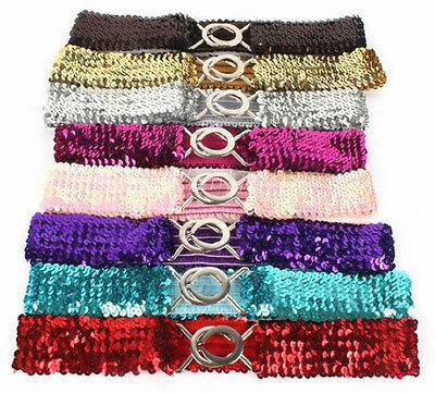 FASHION LADY SHINE SEQUINS BELT New Girl Elastic Waistband Bling Stretchy Girdle
