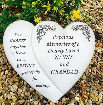 Nanna & Grandad Double Heart memorial Grave or Garden Plaque tribute DF16848NG