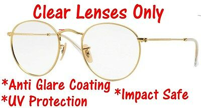 CLEAR RB3447 Round Metal Replacement Lenses UV Protect + Anti Glare Ray Ban 50mm