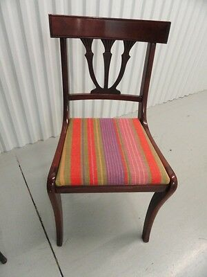Vintage Mahogany Chairs Lyre Back Fabric Seat Fine Tooled Wood Local Pick Up