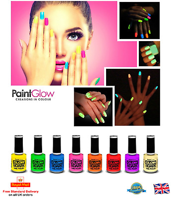 Paint Glow GLOW IN THE DARK Nail Varnish Bright Fluorescent Neon Nail Polish UK