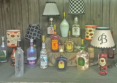 Custom Made  Liquor Bottle Table Lamp W/ Lampshade See Discriptrion