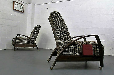 Stylish One Off Pair Of Antique 1930S Art Deco Solid Oak Cocktail Armchairs