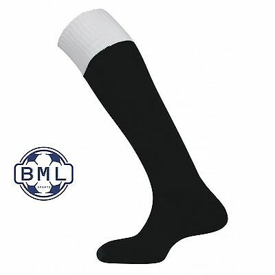 REFEREE SOCKS BLACK with WHITE turnover - 3 sizes available