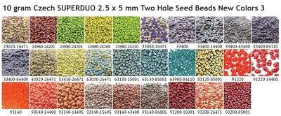 10 gram or 24 gram Czech SUPERDUO 2.5 x 5 mm Two Hole Seed Beads New Colors 3