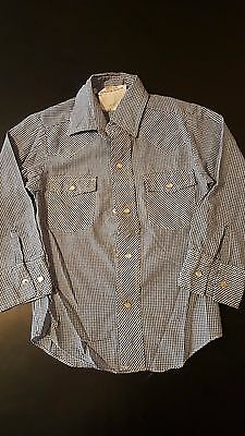 Vintage 80s Children's Youth Kids Izod Long Sleeve Western Pearl Snap Shirt