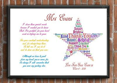 THANK YOU TEACHER Gift STAR Personalised TA School Leaving Present A4 Poem