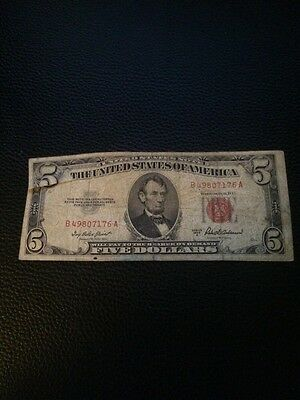 1953 A FIVE DOLLAR $5 RED SEAL UNITED STATES NOTE B49807176A Circulated