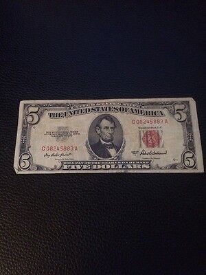 1953 A FIVE DOLLAR $5 RED SEAL UNITED STATES NOTE CIRCULATED C08245883A Low #
