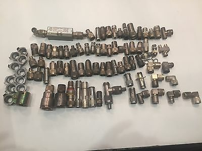 Large Lot of 70 Microwave RF Connectors Filters Coaxial (T7)