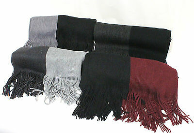 Unisex Men Women Simple Long Knitted Scarf Two Color Winter Warm Fashion Casual