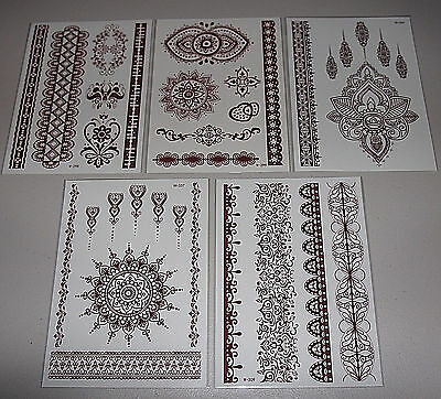 Lot-5 Sheets Red/Brown High Quality Henna Lace Boho Mehndi Temporary Tattoos