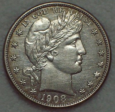 1908 D *SILVER* Barber Half Dollar Authentic US Coin - UNCirculated Detailing