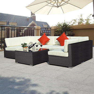 7PC Patio Rattan Sofa Set Furniture Sectional PE Wicker Couch Outdoor Brown