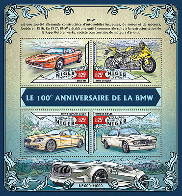 Niger 2016 MNH BMW 100th Ann 4v M/S Cars Motorcycles BMW 640D Gran Coupe Stamps