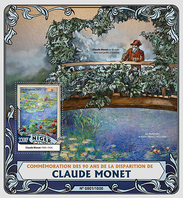 Niger 2016 MNH Claude Monet 90th Memorial Anniv 1v S/S Art Paintings Stamps