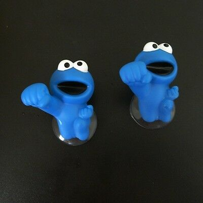 2xSesame Street Figure Suction Cup Window Hook Hanger Blue