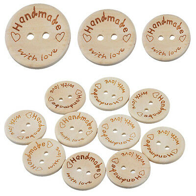 100Pcs Handmade With Love Buttons Scrapbooking Sewing Wood Button 25mm 20mm 15mm