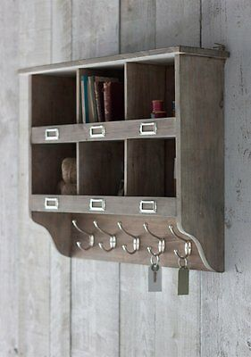 Wooden Shelving Wall Storage Unit with Hooks by Garden Trading