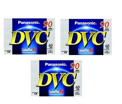 3 x Panasonic DVM60 Mini DV Camcorder Tapes SP60/LP90 - BRAND NEW IN PACKAGING