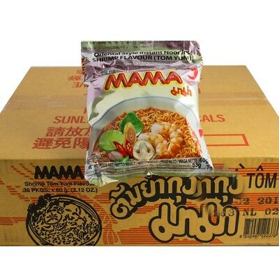 1 Karton MAMA Shrimp Instant Nudel Suppe 30 x 60g Shrimps Tom Yam Yum Nudelsuppe