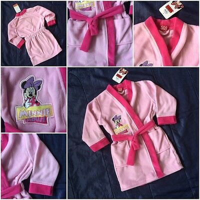 Official Disney Minnie Mouse Pink Bath Robe Dressing Night Gown Girls
