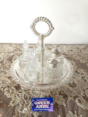 Great Vintage Queen Anne Silver Plated Condiment Set