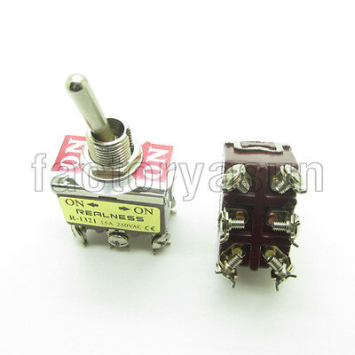 2Pcs AC 250V 15A Amps On//Off 2 Position DPST 4 Screw Terminals Toggle Switch·UK
