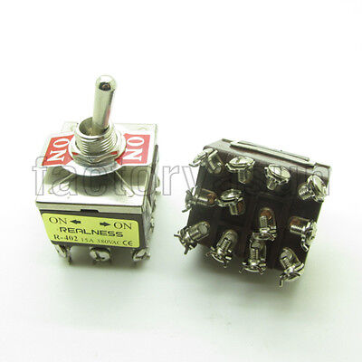 Heavy Duty Toggle Switch 4PDT 12 Screw Terminal ON-ON 2 Position 15A 380V