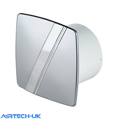 """Bathroom Extractor Fan 100mm / 4"""" WLS100H Timer & Humidity Sensor Silver Chrome"""