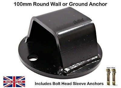 BLACK 100mm ROUND Wall or Ground Chain ANCHOR + FIXING BOLTS Motorbike Scooter