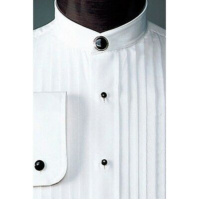 "Used White Chinese Mandarin Collar Tuxedo Pleated front Tux Shirt 1/2"" Pleats"