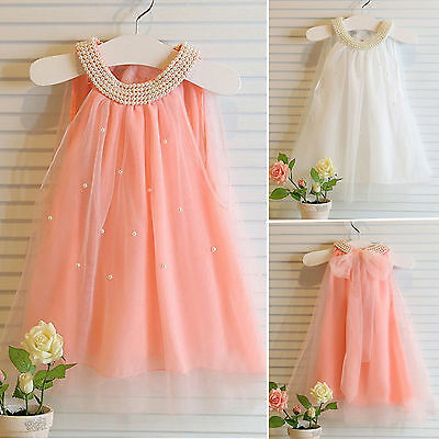 Summer Kids Baby Princess Wedding Dress Tutu Tulle Pageant Flower Girls Clothes