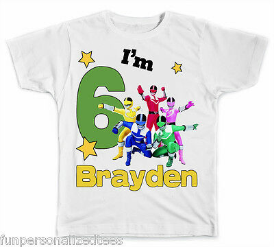 Personalized Big Number Power Rangers Birthday T-Shirt