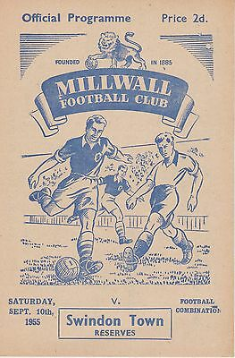 MILLWALL v SWINDON TOWN RESERVES ~ 10 SEPTEMBER 1955 ~ EXCELLENT CONDITION