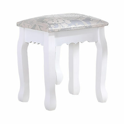 BN Vintage Retro White Dressing Table Stool Padded Piano Chair Makeup Seat