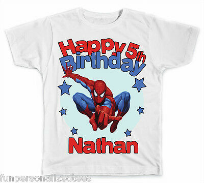 Personalized Spiderman Birthday T-Shirt