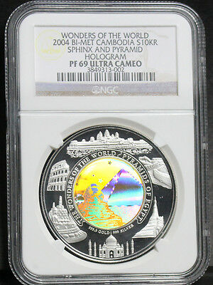 Cambodia 2004 2005 Wonder World- Sphinx Pyramid Hologram Gold Silver Coin NGC 69
