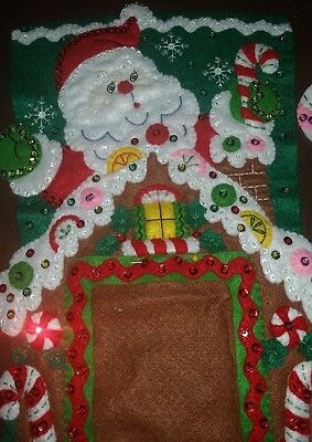 "Finished Bucilla "" Gingerbread Frame 18"" Christmas Stocking - Handstitched"