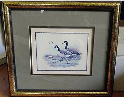 ERWIN RAMBOW-Wildlife Artist-Original Signed WC/Gouache-Canadian Geese Family