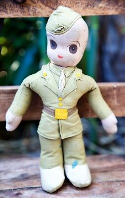 Rare Vintage Cloth World War I or WWII US Soldier Plush Doll U.S. Military