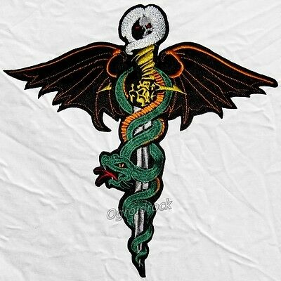 Motley Crue Dr. Feelgood Big Logo Embroidered Patch Nikki Sixx Winged Snake Rock