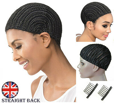 Cornrow Braided Wig Cap Black For Making Wigs With Clips & Strong Elastic Band