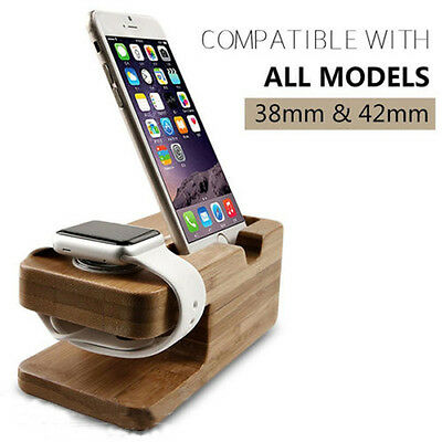Charging Holder Charging Stand Bamboo Base Docking Mount For Apple Watch Iphone