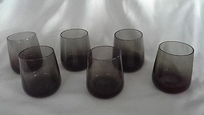 vintage Scandinavian style smoked glass whisky tumblers drinking glasses greeny