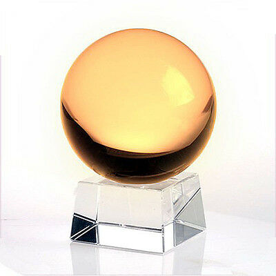LONGWIN Fengshui Crystal Ball Glass Ball with Crystal Stand 200mm Yellow
